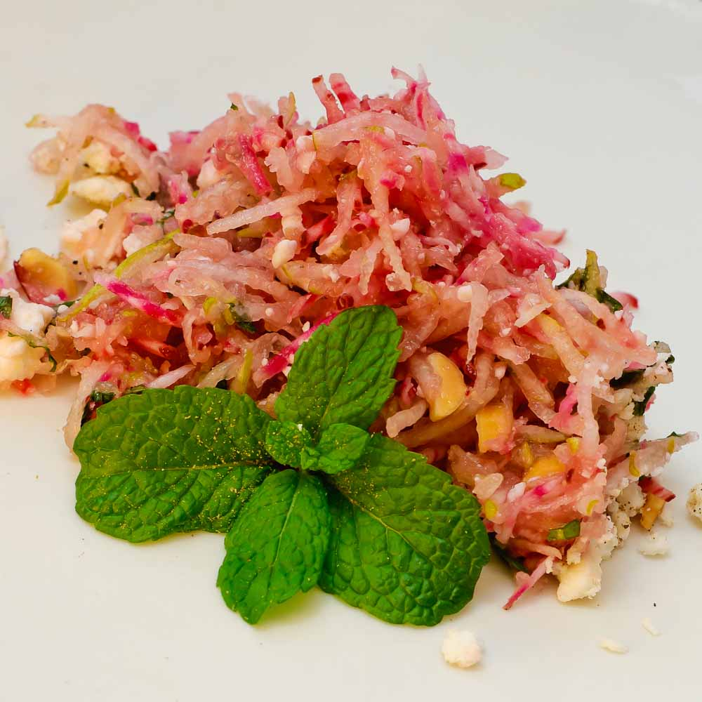 Crunchy raw beet salad with feta and pear - Jamie Oliver - she cooks ...
